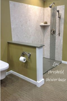 diy shower wall panels and low threshold solid surface shower bases are easy to clean and