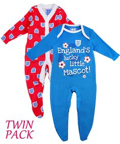 Babies England Twin Pack Sleepsuit Babygrows in blue and red