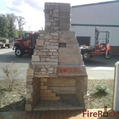Spring DIY project: Outdoor masonry fireplace kits. Interlocking modular concrete pieces join together to create a masonry firebox that is stronger