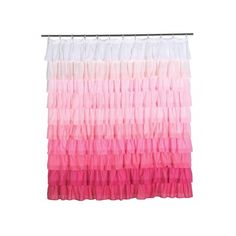 Ruffle Decorative Shower Curtain Pink ❤ liked on Polyvore featuring home, bed & bath, bath, shower curtains, ruffled shower curtains, frilly shower curtains and pink shower curtains
