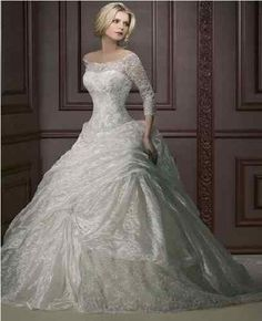 2013 White 3/4 Sleeve Lace Ball Gown Wedding Dress Quinceanera Prom Party Gown