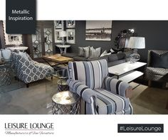 Leisure Lounge manufactures custom-made upholstered furniture! Visit our showrooms in Durban, Hillcrest and Umhlanga or see our stunning range right here. Lounge, Metallic Colors, Upholstered Furniture, Glass Table, Catcher, Grey And White, Colours, Throw Pillows, Style Inspiration