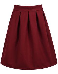 High Waist Wine Red Skirt 21.00