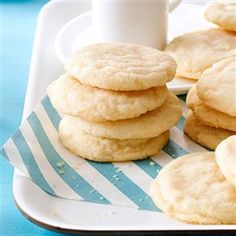 """Sugar Cookies Recipe -This sugar cookie recipe is truly an """"oldie,"""" dating back to a Swedish woman born in 1877! Her daughter, Esther Davis, shared the recipe with me and she came up with all the exact measurements, since the original cookies were mixed by """"feel"""" and taste. These are my favorite cookies and I hope they'll become yours as well. —Helen Wallis, Vancouver, Washington"""