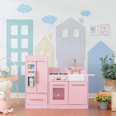 Shop for Teamson Kids - Little Chef Chelsea Modern Play Kitchen - Pink / Gold. Get free delivery On EVERYTHING* Overstock - Your Online Toys & Hobbies Shop! Playroom Flooring, Playroom Furniture, Playroom Decor, Kids Furniture, Playroom Bench, Playroom Ideas, Nursery Decor, Furniture Design, Uptown Kitchen
