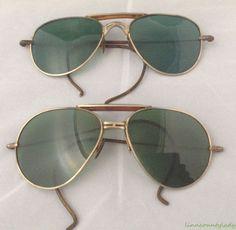Vtg 2 Pair Aviator Wire Rim Sunglasses Green Lens Theater Costume Steampunk FR S