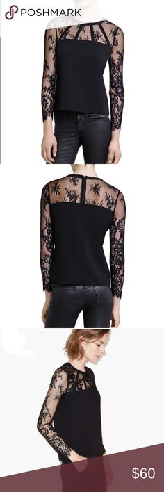 The Kooples lace insert crepe blouse The Kooples lace insert crepe blouse. Jewel neck, long sleeves, back button closure. Inset lace construction at yoke & sleeves. Back keyhole cutout. This blouse is lined. Exterior shell 80% Acetate & 20% polyester. Lace is 68%nylon & 32% polyester. Lining 98% polyester & 3% elastane. Only worn once. Excellent condition. The Kooples Tops