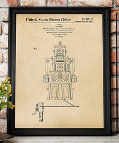 Another great find on #zulily! Toy Robot 1955 Parchment Patent Art Print #zulilyfinds