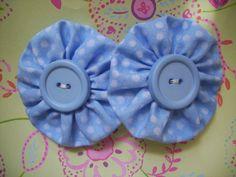 Blue+Polka+Dot+Fabric+YoYo+Barrettes+Hair+by+LittleDollysShop,+$3.50