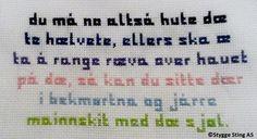 geriljabroderi tekst - Google-søk Satire, Hand Embroidery, Ravelry, Diy And Crafts, Knit Crochet, Stitching, Projects To Try, Cross Stitch, Bullet Journal