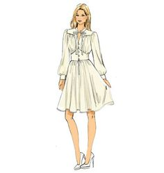 Buy Vogue Bishop Sleeve Flared Dress Sewing Pattern, 9076 from our Sewing Patterns range at John Lewis & Partners. Dress Design Sketches, Fashion Design Drawings, Fashion Sketches, Croquis Fashion, Dress Designs, Vogue Sewing Patterns, Vintage Sewing Patterns, Miss Dress, The Dress