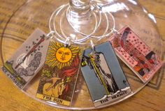 """12 Tarot Card Wine Charms """"Great Jewelry for your Glasses"""" COOL Unique Wedding or Birthday Gift SUPER Fast Shipping"""