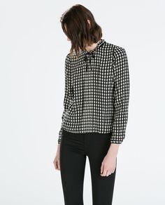 ZARA - MULHER - CAMISA ESTAMPADA C/LAÇO Zara Looks, Zara New, Got The Look, Casual Party, Zara Women, Party Wear, Printed Shirts, Style Inspiration, Blouse