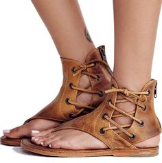 Women Sandals 2019 Summer Shoes Woman Gladiator Sandals Vintage Beach Shoes Leather Flat Sandalias Mujer Plus Size Flip Flops Lace Up Gladiator Sandals, Lace Up Flats, Beach Shoes, Beach Sandals, Summer Sandals, Dress Sandals, Flip Flops Damen, Bohemian Sandals, Womens Summer Shoes