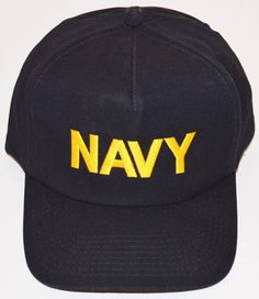 US Navy Hat Cap Black With Gold Navy Lettering One Size Snapback Very Good  !   b76a2c748b51