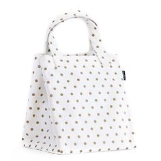 """Metallic Gold Dots Lunch Tote 9"""" x 10"""" x 7.5"""" Printed on recycled canvas with eco-friendly pigment inks. Fits your lunch box, snack, and then some more! Features a nifty interior pocket for your utens"""