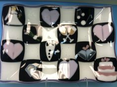 Perfect gift for a wedding! #bridal #shower #cheers #glass #fused #tray #checkered