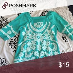Teal flowered blouse Real flowered patterned blouse Tops Blouses