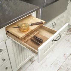 Boards – These custom hand made wooden cutting boards are designed to replace the slide in cutting board that is located under the counter of your kitchen cabinets. Description from binetitchen.com. I searched for this on bing.com/images