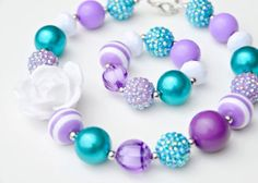 Purple and Teal Chunky Bubblegum Necklace and Bracelet set on Etsy, $15.99