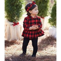 Buffalo Check Infant Skirted Crawler Now in Stock to 24 Months). Collared buffalo check skirted crawler features black velvet covered front bodice buttons and inner leg snap closure. Little Girl Outfits, Cute Outfits For Kids, Little Girl Fashion, Toddler Girl Outfits, Baby Girl Dresses, Baby Dress, Kids Fashion, Christmas Pictures Outfits, Girls Christmas Outfits