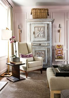 a sophisticated pink living room with so much charm. http://www.atlantahomesmag.com/