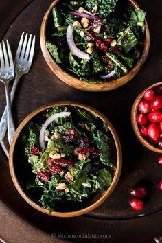 Cranberry Kale Salad with Cranberry Vinaigrette | Kitchen Confidante