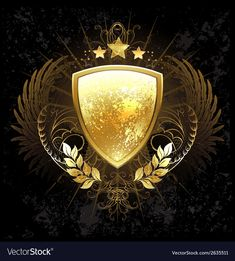 Illustration about Golden shield decorated with a pattern, wings, stars and golden laurel branches on a dark background. Illustration of golden, badge, black - 43382812 Best Background Images, Star Background, Vector Background, Angel Vector, Bow Vector, Free Vector Images, Vector Free, Phoenix Vector, Eagle Icon