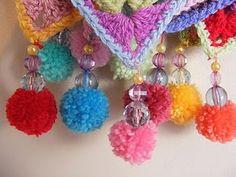 pom pom, Crochet bunting/Granny triangles, by pinkfluffywarrior Crochet Home, Love Crochet, Crochet Crafts, Yarn Crafts, Crochet Flowers, Crochet Projects, Knit Crochet, Crochet Granny, Crochet Bunting