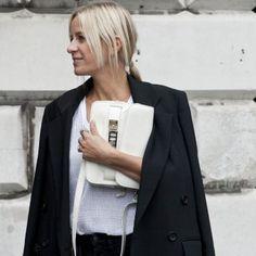 Le sac blanc, look de la Fashion Week printemps été 2014 de Londres