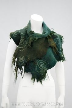 RESERVED for K. Felted clothing- Felt  Forest Wrap - felt shawl -big scarf - vest - Swirls