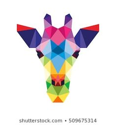 POLYGON ANIMAL PET GIRAFFE ZOO POLYGONAL POLY ICON LOGO TEMPLATE Cool Art Drawings, Pencil Art Drawings, Geometric Drawing, Geometric Art, Easy Portrait Drawing, African Art Paintings, Horse Illustration, Triangle Art, Polygon Art