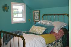 Converted attic to girls bedroom, Teen girl bedroom converted from attic space.  Two tone color walls and vaulted ceiling.  Vintage brass bed and bedding.  Anthropologie quilt.  Blue and green walls have a peaceful feel in the room.  This is a happy place for my teen girl! , This was the attic and is now a girls bedroom.  We added the window.  Blue and green painted walls make the room feel relaxing. , Girls Rooms Design