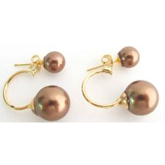 Price :$3.99 Double Pearl Ear Jacket Earring Beautiful Brown Color  Material : 8mm 16mm Brown Pearl Color : Brown/ Gold Earrings Type : Stud