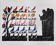 Vogelpredigt (Sermon to the Birds), woodcut on paper, diptych, x m Dieter Roth, Frieze Magazine, Religion, New York Galleries, San Francisco, Architecture Magazines, New York Art, Graphic Patterns, Christian Art