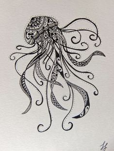 This would be a sick tattoo! - Jellyfish Zentangle Style Drawing by DizzyBlondeDesigns on Etsy