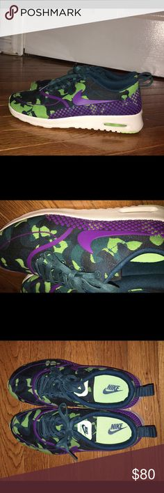NIKE AIR MAX CAMO THEA Worn once . Looks brand new . Sitting in my closet. Very RARE colorway. Camo pattern is very in on trend. Pls make reasonable offers. 8.5 in womens. Paid a lot for these shoes. Nike Shoes Sneakers