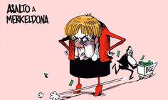 Asalto a Merkeldona #humor #crisis #nosrobanlacartera