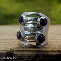 The corset - sterling silver ring with amethysts