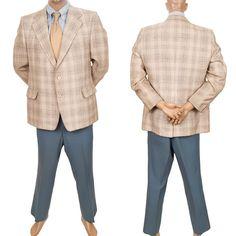 Vtg Curlee Plaid Retro Sport Coat Mens 44R Leisure Suit Jacket Pants 2 Pc 38X30 #MensSuit #SomeLikeItUsed