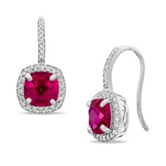 I've tagged a product on Zales: 7.0mm Cushion-Cut Lab-Created Ruby and White Sapphire Frame Drop Earrings in Sterling Silver