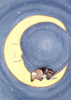 German shepherd takes a nap on the moon / Lynch signed folk art print by watercolorqueen on Etsy