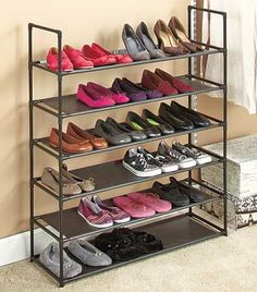 Storage Shoe Rack Product Description: This storage shoe rack is stackable, changeable and versatile! This 6 tier storage shoe organizer holds up to 24 pairs of shoes and is a great organizational too Closet Shelves, Closet Storage, Storage Bins, Storage Rack, Closet Organization, Organizing, Storage Ideas, Storage Solutions, Attic Storage
