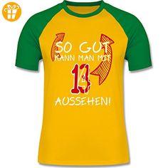 Geburtstag - So gut kann man mit 13 aussehen - S - Gelb/Grün - L140 - zweifarbiges Baseballshirt für Männer (*Partner-Link)