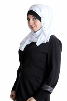 Modern Hejab Amira 1-piece Hijab Jersey (White).  A simple and delicate strip of sparkle to frame your face. Includes a slip on piece and a long shayla section to wrap around. Polyester stretch fabric for easy use. Must have. More at http://suliaszone.com/modern-hejab-amira-1-piece-hijab-jersey-white/