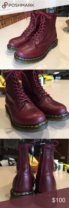 Dr. Martens 🍬 Doc martens pascal boot !! In shade : Wine.  *8-eyelet lace, cushioned insole, with soft leather uppers : shipping is $7.50!  Size: women's 8  Never been worn, fresh out of the box.  Retail : $139.99 Dr. Martens Shoes Combat & Moto Boots