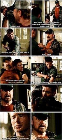 """4x01 Lazarus Rising [gifset] - """"I'm not a demon either, you know."""" - Bobby Singer, Dean Winchester, Supernatural"""