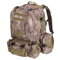 55L Waterproof Camping Hiking Backpack Rucksacks Python Tan -- Click image to review more details.(This is an Amazon affiliate link and I receive a commission for the sales)