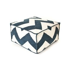 Update the look of your outdoor living space with this polyester pouf. With a navy chevron design, this pouf is a stylish and functional addition to your home. The polyester blend construction makes this piece durable and enjoyable for many years.