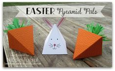 Easter treats by Nicole: Playful Pals set, Cherry on Top Cotton Paper, Fringe Scissors, Pyramid Pals Thinlits - all from Stampin' Up!